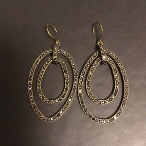 Hooked black and brass double hoops- like new!